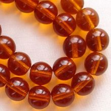 8mm Round Czech Glass Beads Dark Topaz - 25